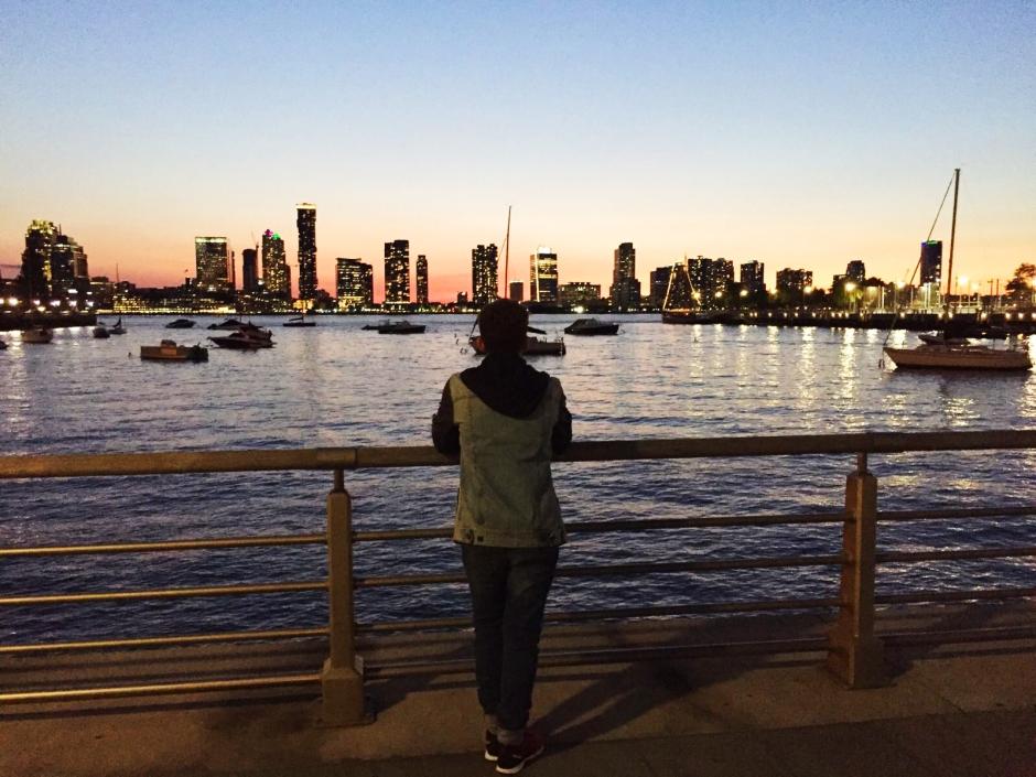 Landscape de Nueva York al lado del río