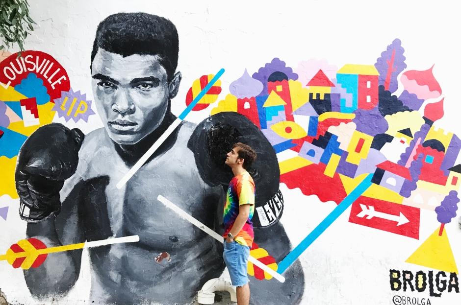 Grafiti de Muhammad Ali en Brooklyn, Nueva York